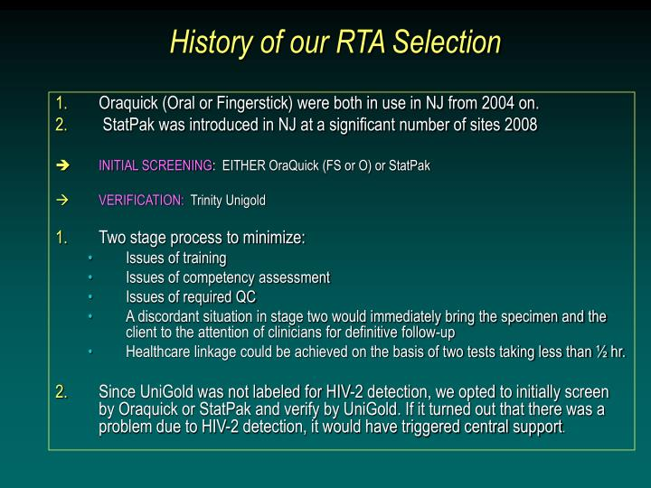 History of our RTA Selection