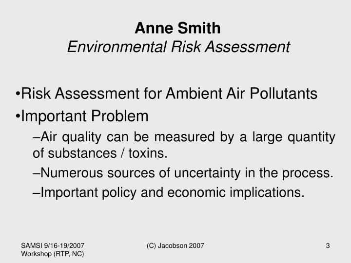 Anne smith environmental risk assessment
