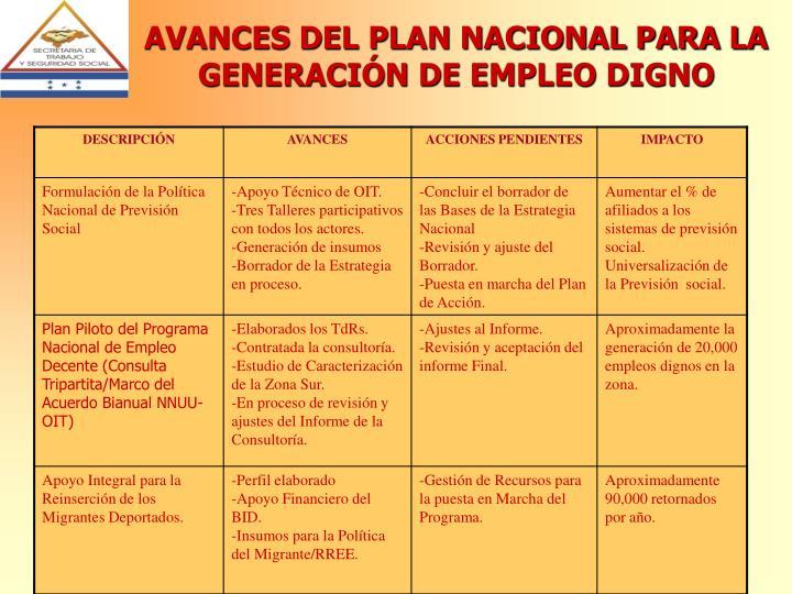 AVANCES DEL PLAN NACIONAL PARA LA GENERACIÓN DE EMPLEO DIGNO