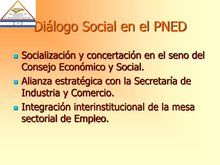 Diálogo Social en el PNED