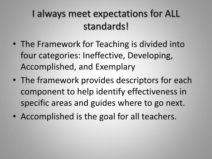 I always meet expectations for ALL standards!