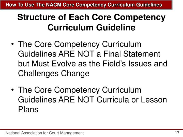 Structure of Each Core Competency Curriculum Guideline