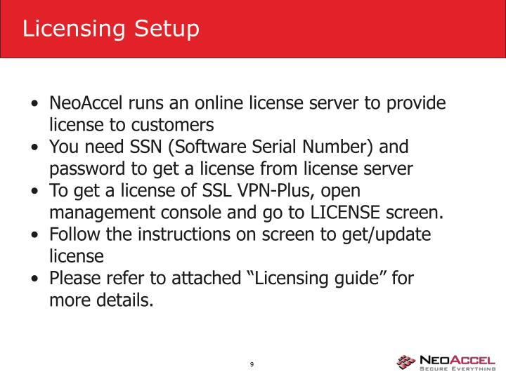 Licensing Setup