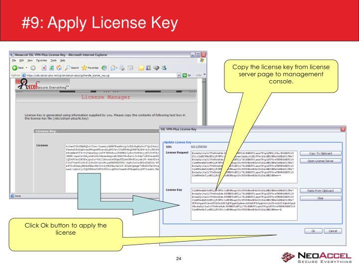 #9: Apply License Key