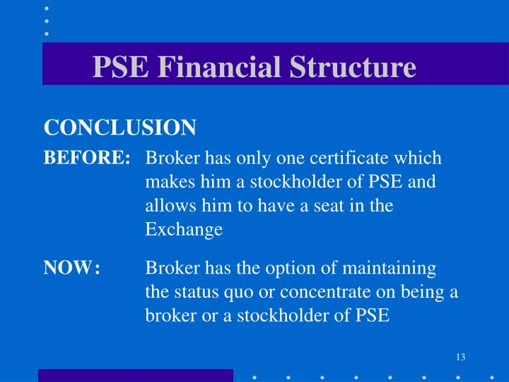 PSE Financial Structure