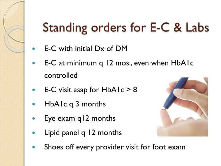 Standing orders for E-C & Labs