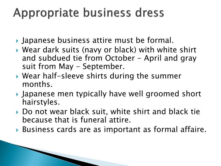 Appropriate business dress