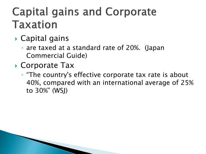 Capital gains and Corporate Taxation