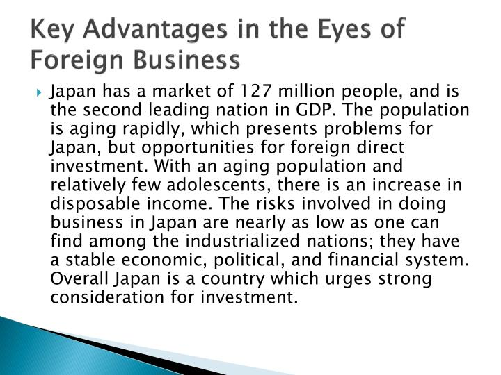 Key Advantages in the Eyes of Foreign Business