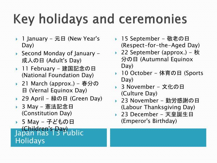 Key holidays and ceremonies