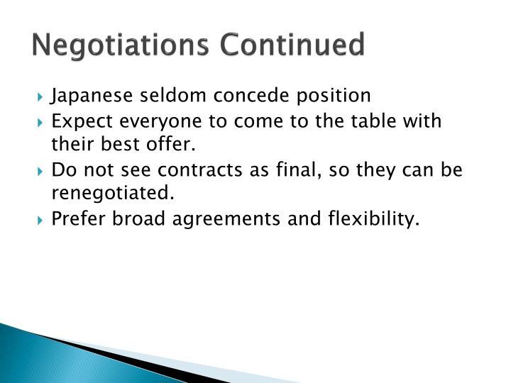 Negotiations Continued