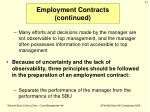 employment contracts continued