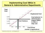 implementing cost sbus in general administrative departments