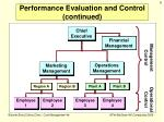 performance evaluation and control continued1
