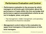 performance evaluation and control