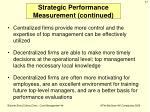 strategic performance measurement continued