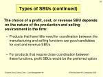 types of sbus continued