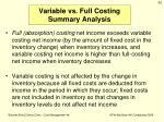 variable vs full costing summary analysis