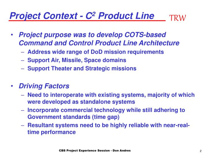 Project context c 2 product line