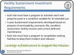 facility sustainment investment requirements