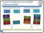 factors considered in the aci dm prediction model