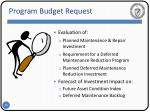 program budget request