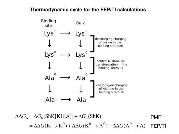Thermodynamic cycle for the FEP/TI calculations