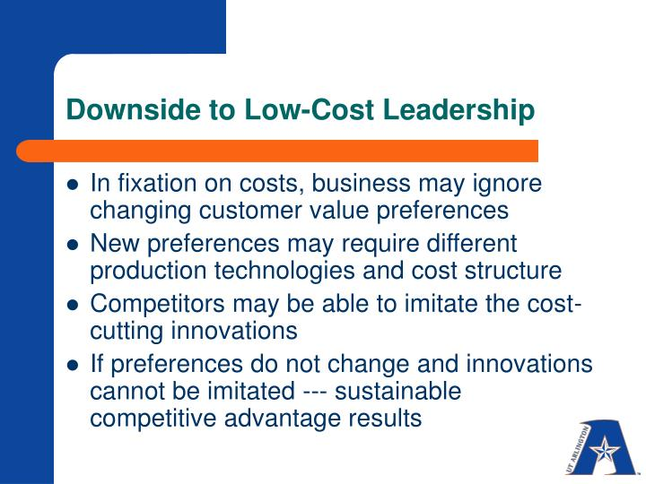 Downside to Low-Cost Leadership