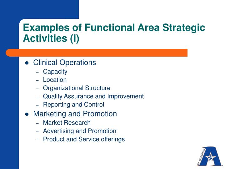 Examples of Functional Area Strategic Activities (I)