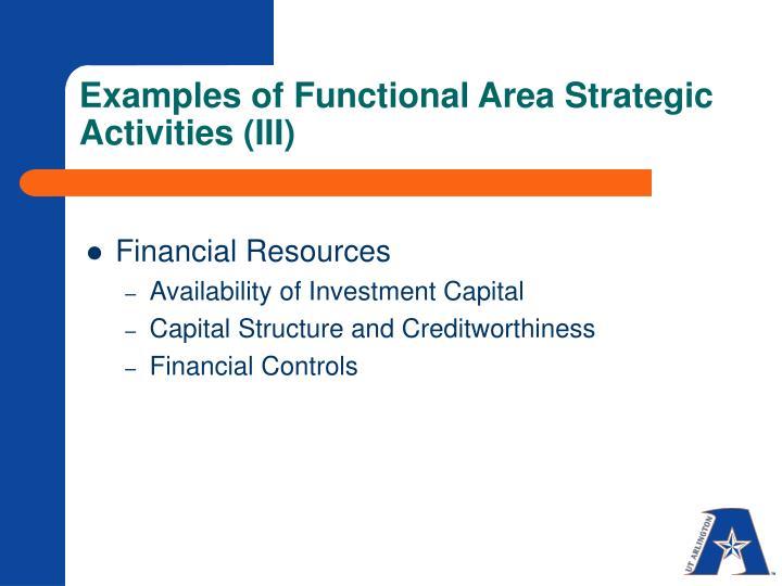 Examples of Functional Area Strategic Activities (III)
