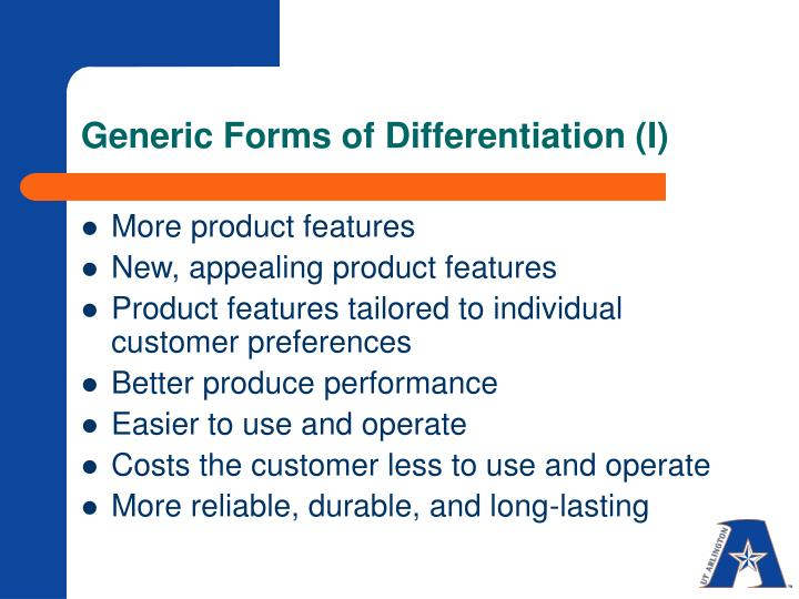 Generic Forms of Differentiation (I)