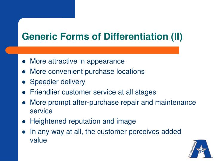 Generic Forms of Differentiation (II)