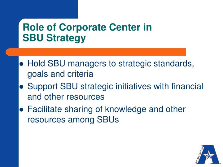 Role of Corporate Center in