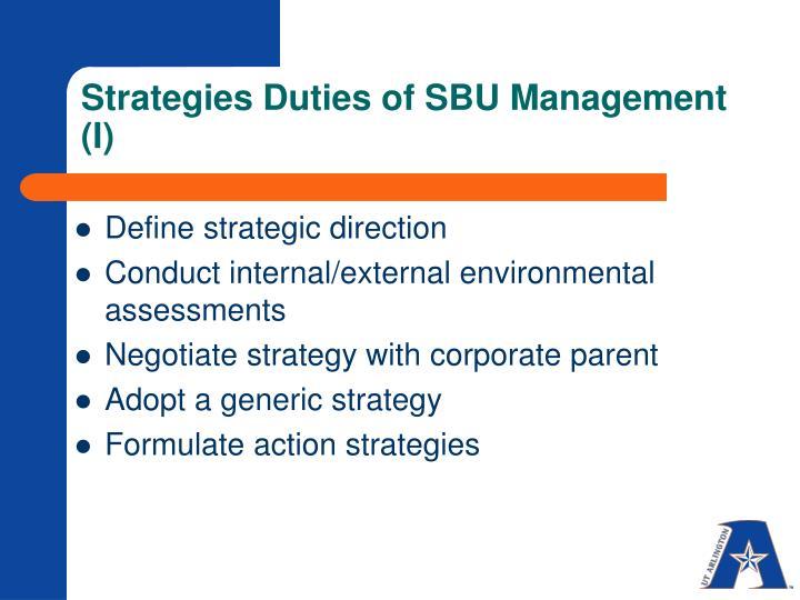 Strategies duties of sbu management i