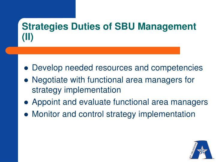 Strategies Duties of SBU Management (II)