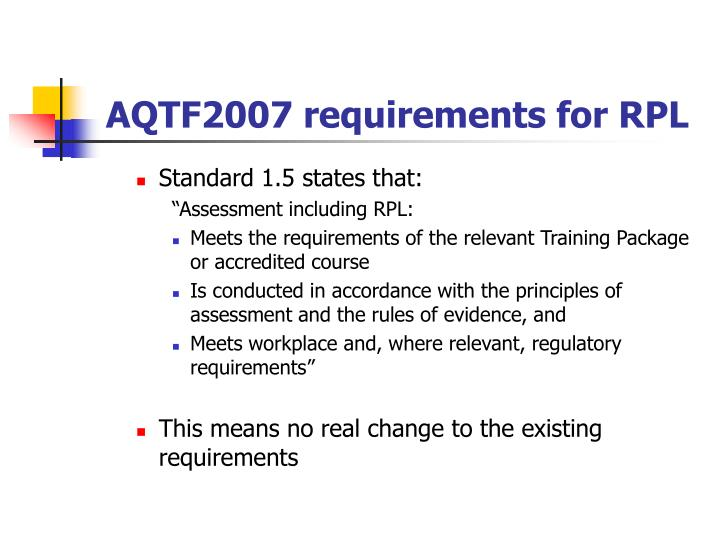 AQTF2007 requirements for RPL