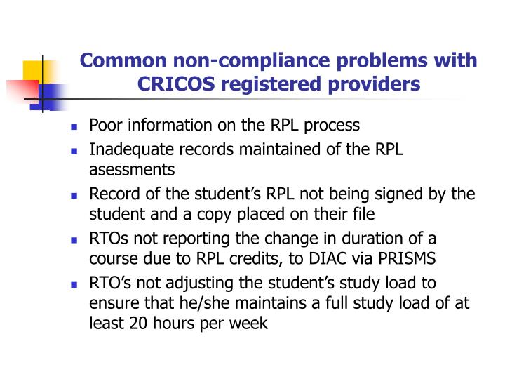 Common non-compliance problems with CRICOS registered providers