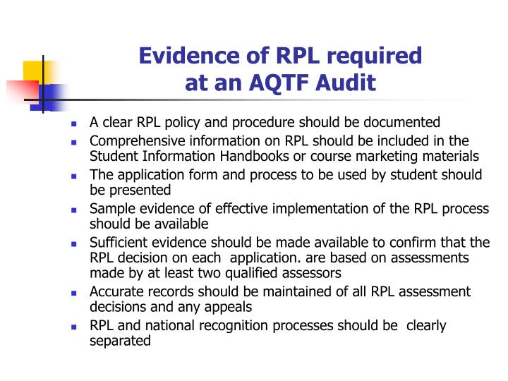 Evidence of RPL required