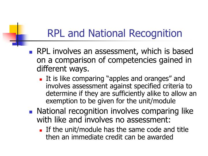 RPL and National Recognition