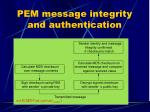 pem message integrity and authentication