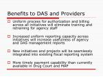 benefits to das and providers