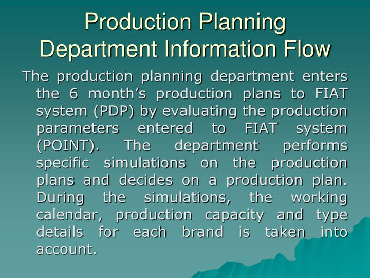 Production Planning Department Information Flow