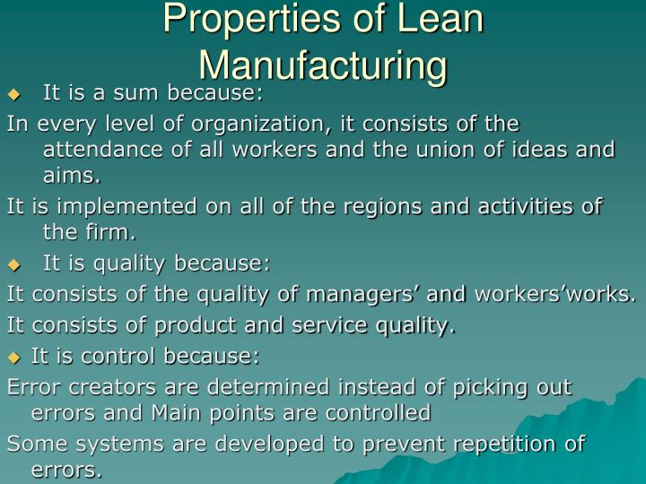 Properties of Lean Manufacturing