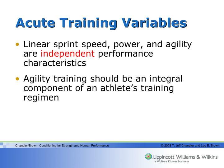 Acute Training Variables