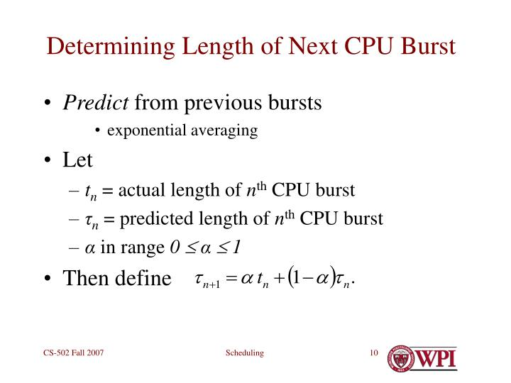 Determining Length of Next CPU Burst