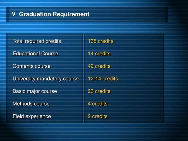 V  Graduation Requirement