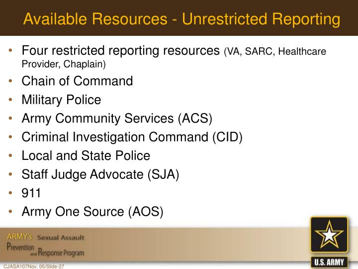 Available Resources - Unrestricted Reporting