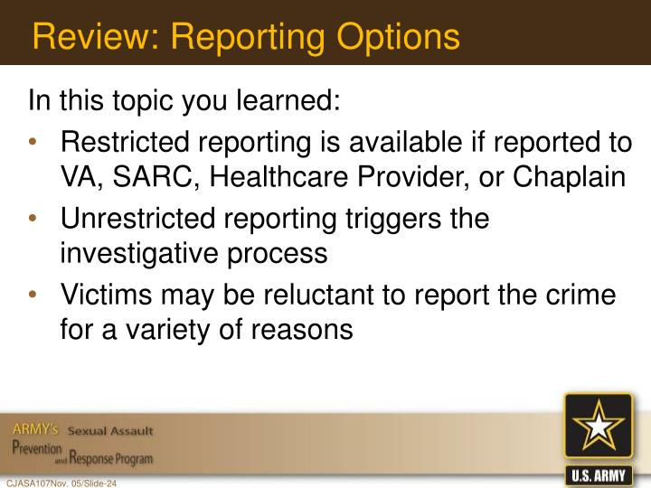 Review: Reporting Options