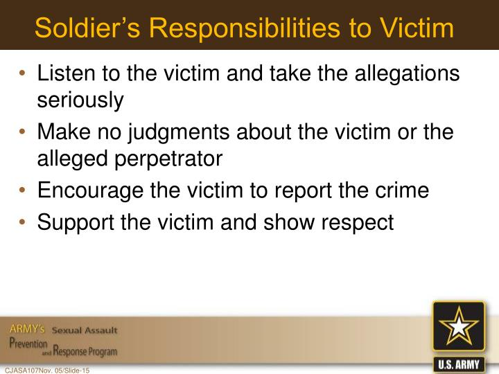 Soldier's Responsibilities to Victim