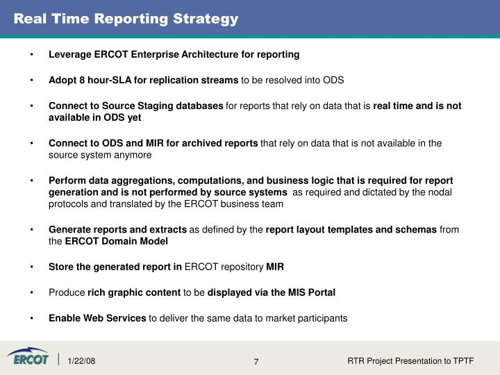 Real Time Reporting Strategy
